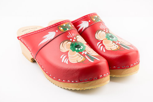 Red colored clogs
