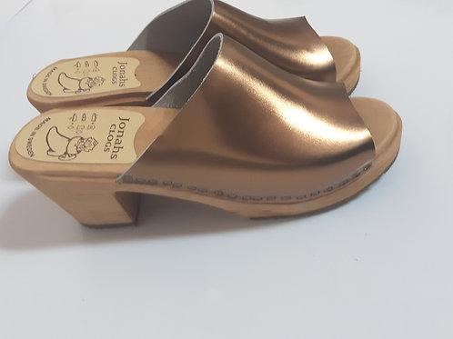 High heel open bronze clogs