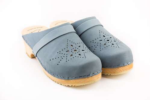Perforated blue color clog in star shape