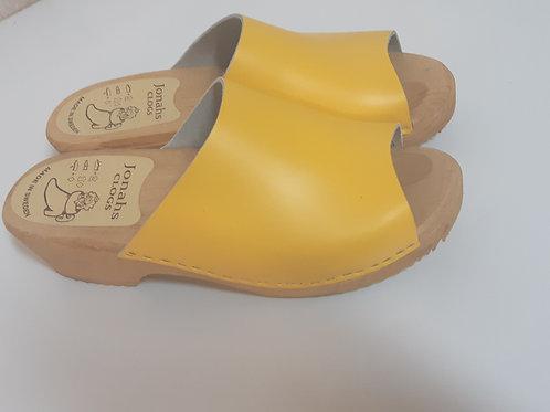Matte yellow high heel sandals