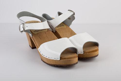 High heels white nail polish sandals