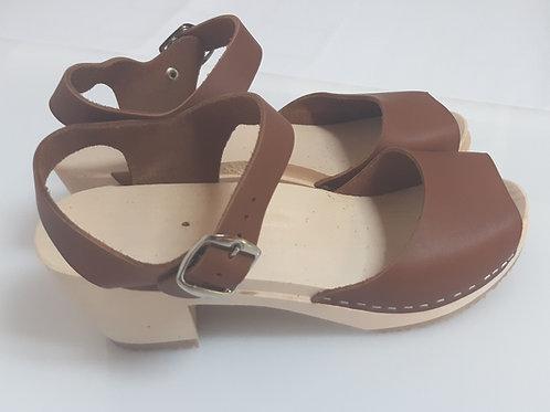Brown Medium Heel Sandals 2 Straps