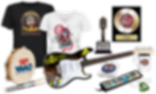 Promotional guitars, record awards, t-shirts and more.