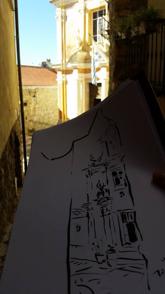 Zoia sketching in Seborga