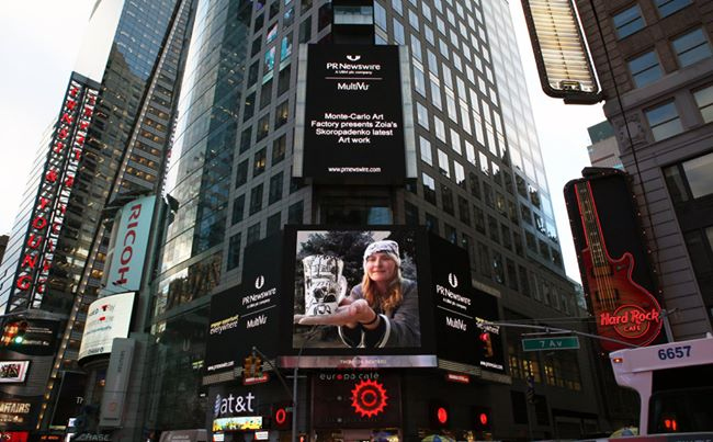Zoia on Screen on Time Square