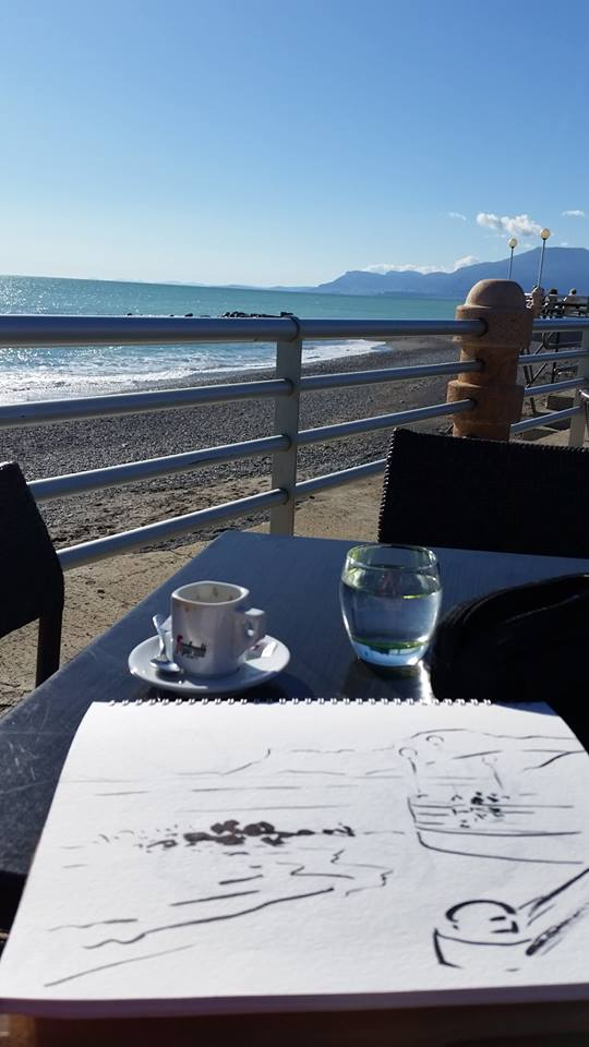 Zoia sketching Italian Riviera