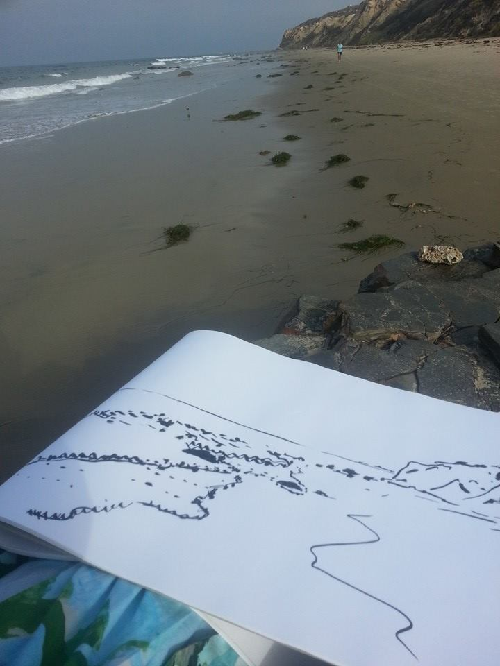 Zoia sketching in Newport Beach.