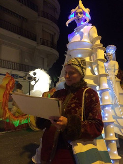 Zoia sketching in Carnival of Menton