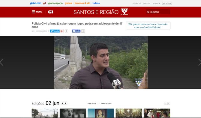 Entrevista com Vinicius Vaz concedida à TV Tribuna sobre ação de marginais nas estradas da região.