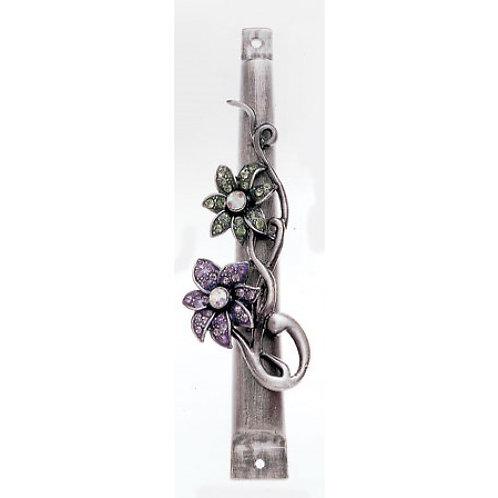 GEM MZ 02-Violet & Grey Floral Gemstone Mezzuzah
