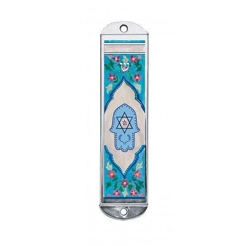 MZ 161-Blue Hamsa Mezzuzah