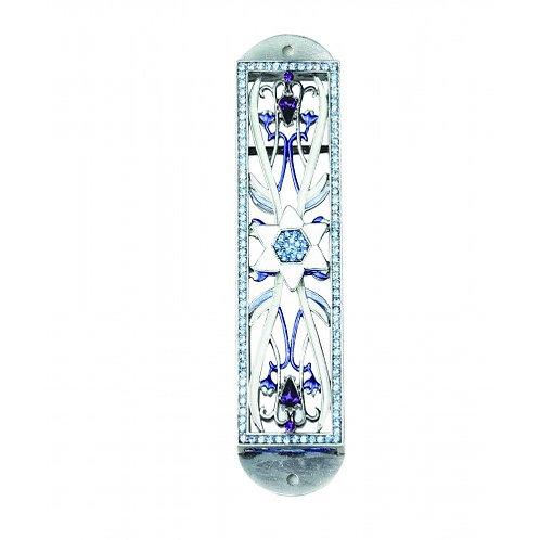 GEM MZ 18-Blue Jewish Star Gemstone Mezzuzah