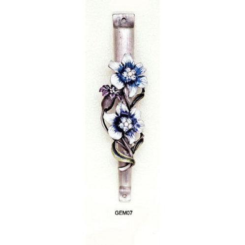 GEM MZ 07-White & Blue Floral Gemstone Mezzuzah