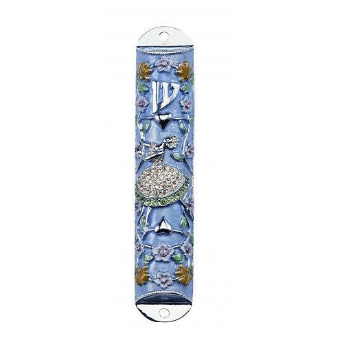 GEM MZ 30-Blue Wedding Dress Gemstone Mezzuzah