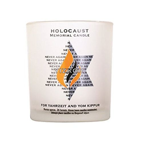 Holocaust Memorial/ Yahrzeit Candle- Made From Frosted Glass-24 Hour Candle
