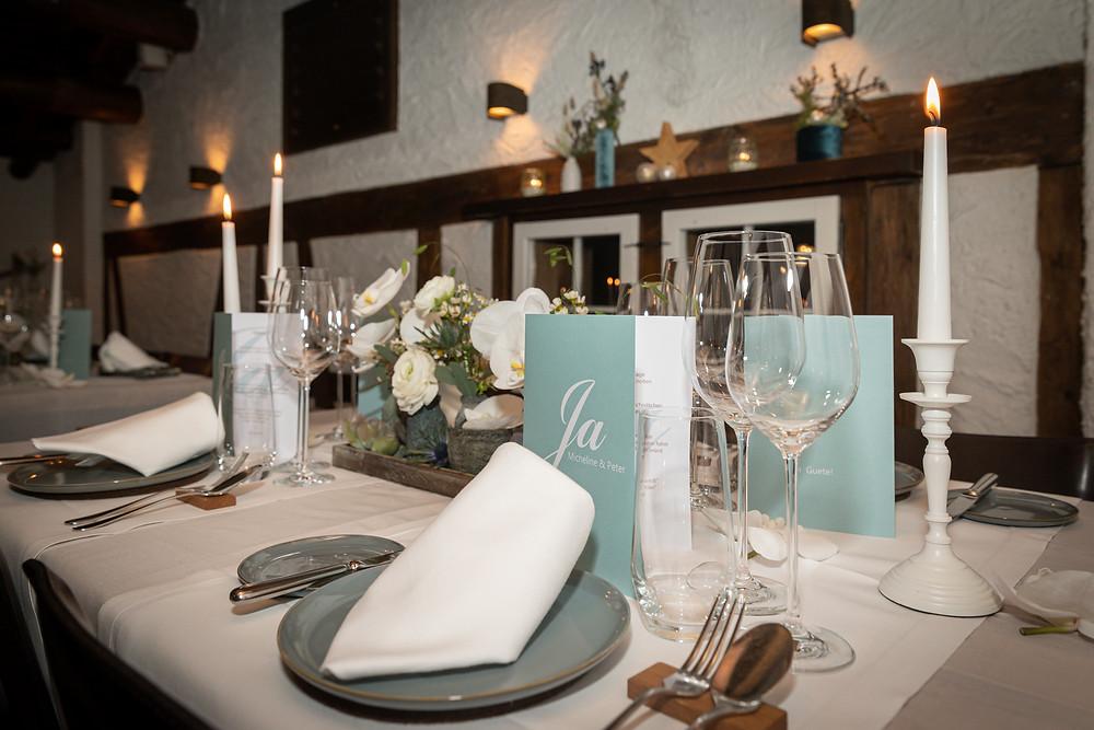 Hochzeit im Guarda Val, Tischdekoration