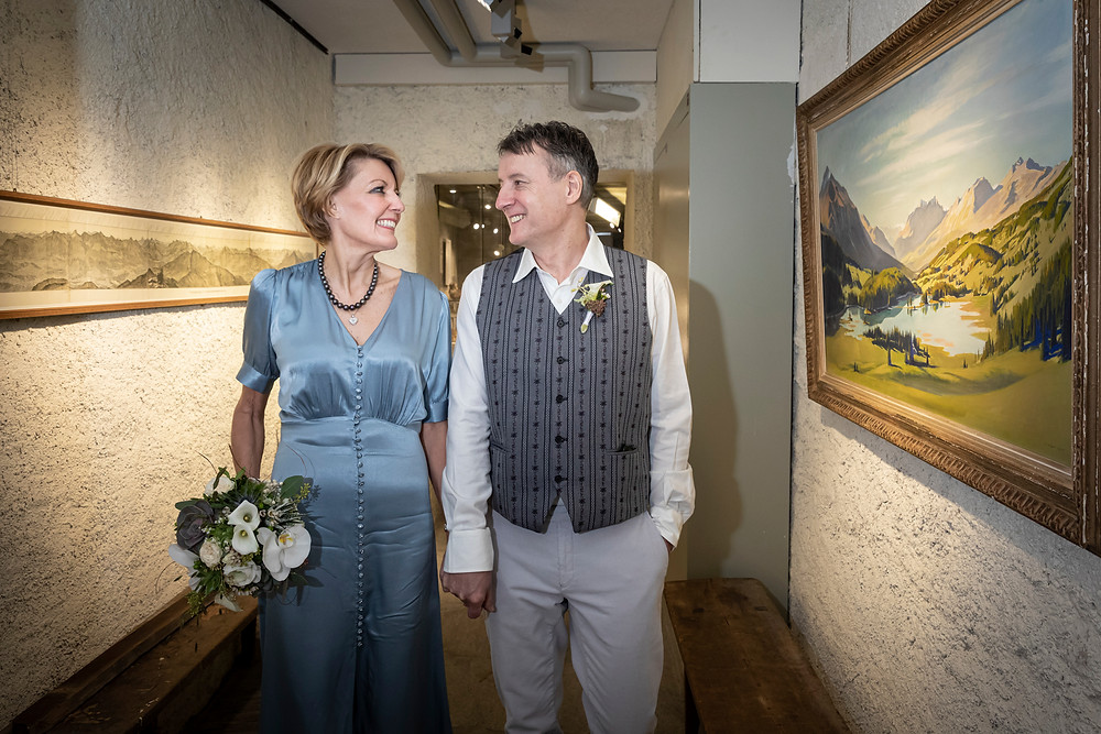 Graubünden, Brautpaarshooting im Museum