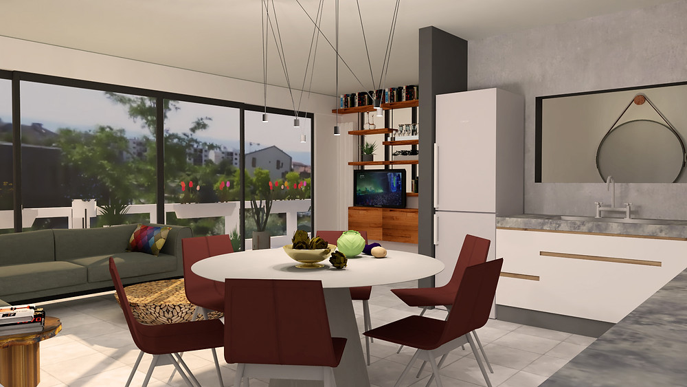 render, 3d, concept, design, living room, open space, home office, decoration, architecture