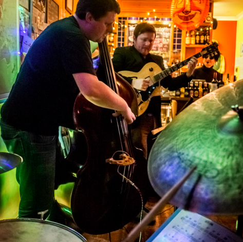 Garry Jackson, Steve Hanley and I at Cafe Lento. Photo Lloyd Spencer