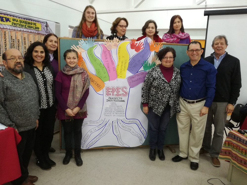 The Rev. Jaime Dubon with the EPES Executive Secretary Lic. Sonia Covarrubias, ELCA Regional Representative for South America (at the right) and EPES staff member