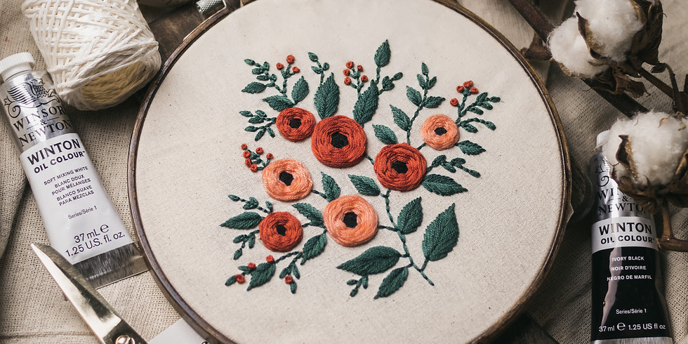 Peach Floral Embroidery Workshop RM190