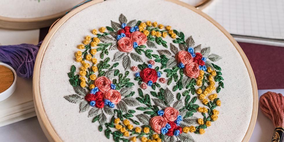 Floral Emblem Embroidery Workshop RM190