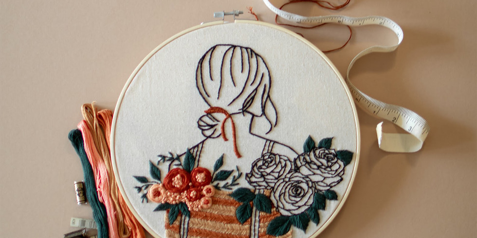Girl with Floral Basket Embroidery Workshop RM190