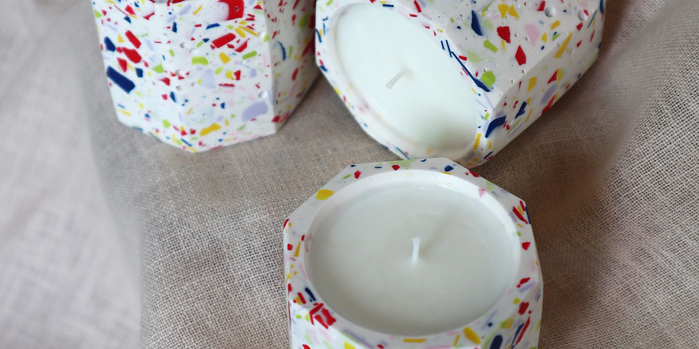 Jesmonite Candle Holder & Soy Wax Candle Making (Online Workshop) RM200