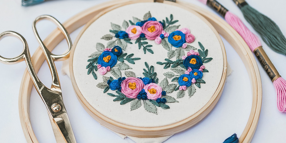 Red bouquest Floral Embroidery Workshop RM190