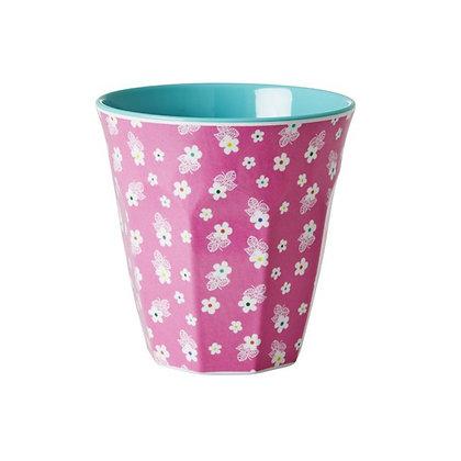 ★ כוס מלמין ורודה עם פרחים