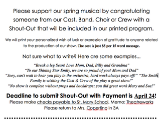 Shout-Out Form:  Due 4/24