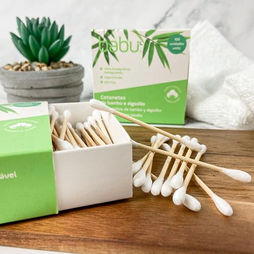 cotonetes, cotonete bambu, cotonete biodegradável, embalagem de cartão, algodão natural