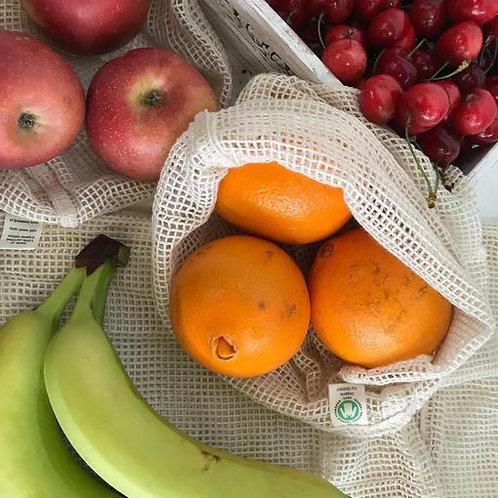 sacos 100%, sacos reutilizaveis algodão, saco de rede, saco de rede para frutas, saco de rede para compras, reutilizável