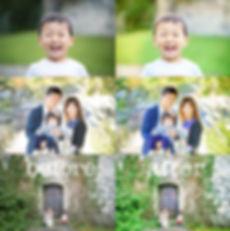 家族写真撮影の現像before after