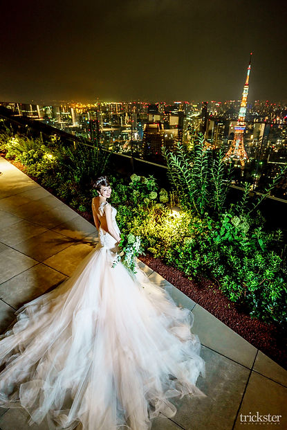アンダーズ東京の夜景ガリアラハヴのドレス