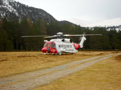 Rescue helicopter makes a short stop on the airfield