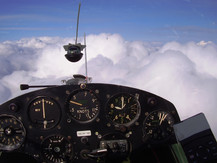 Vintage gliding above the clouds