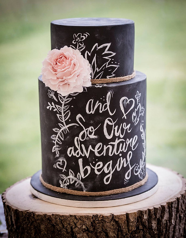Blackboard Painted Wedding Cake