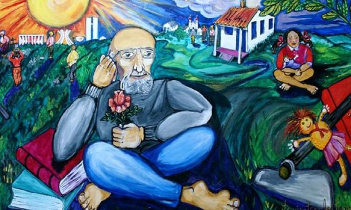 """Painel Paulo Freire. CEFORTEPE - Centro de Formação, Tecnologia e Pesquisa Educacional Prof. """"Milton de Almeida Santos"""", SME-Campinas. Auto: Luis Carlos Cappellano"""