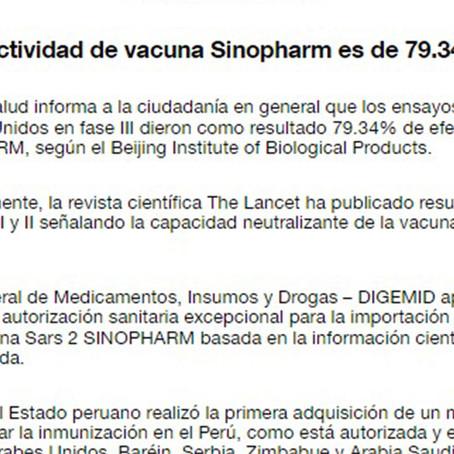 Minsa aclara que eficacia de vacuna Sinopharm es del 79.34%