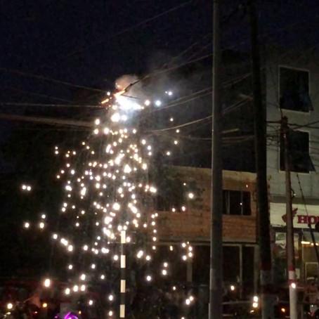 Cables de alta tensión ardieron en  llamas