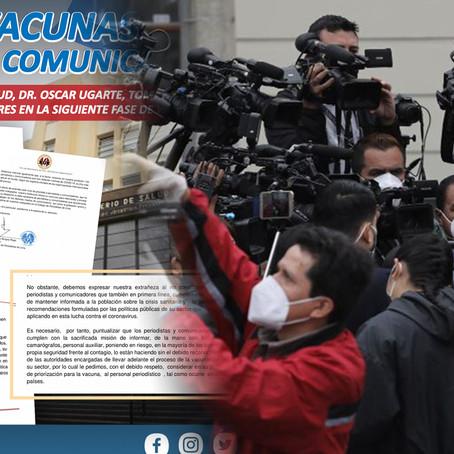 Colegio de Periodistas de Lima solicita vacunas contra la COVID-19
