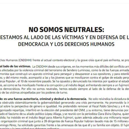 Coordinadora Nacional de Derechos Humanos manifiesta su posición sobre segunda vuelta electoral