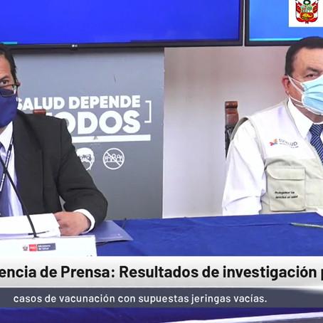 Resultados de investigación sobre vacunas vacías es presentado por el Minsa