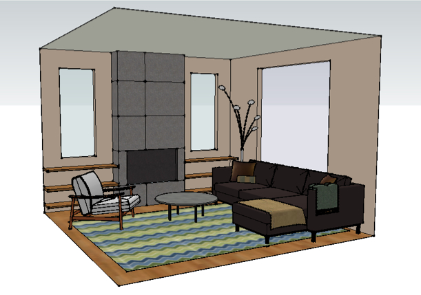 Live Outside the Box Studio Living Room Rendering Portfolio
