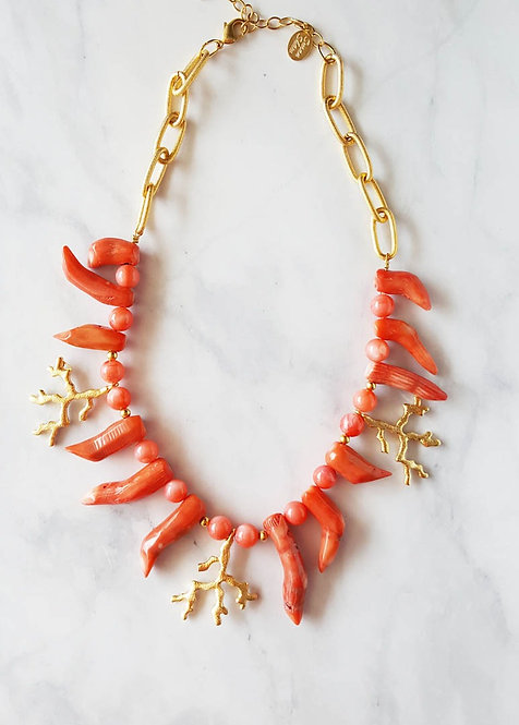 Genuine Branch Coral and Gold Coral Necklace by Susan Shaw