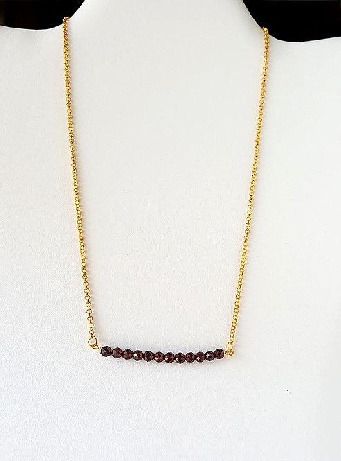 Garnet Bead Bar Necklace by Brandyinthesky