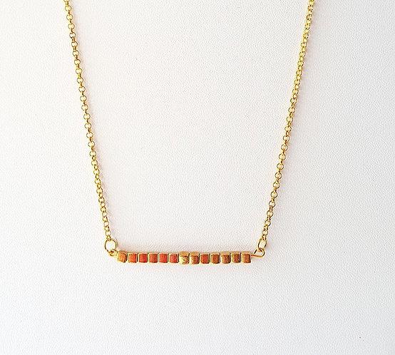 Alexandra Petite Gold Cube Bead Bar Necklace by Brandyinthesky