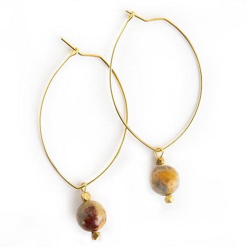 Lenny Gemstone Earrings-Mexican Agate