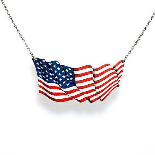 Waving American Flag Necklace #6152